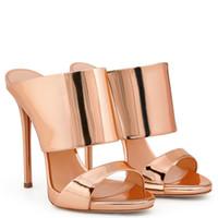 Wholesale Elegent Shoes - New Fashion Womens Shoes Mules Ladies Sandals Open Toe Stilettos Elegent High Heels Party Heels Size