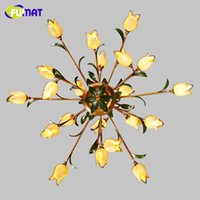 sombra amarilla al por mayor-FUMAT Glass Flowers Chandeliers American Artistic Yellow Glass Shade Luces de suspensión Salón Europeo Art Deco Arañas