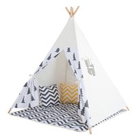 Wholesale Children Pole - Wholesale-Black Tree Printed Children Teepee Four Poles Kids Play Tent Cotton Canvas Tipi For Baby House Ins Hot