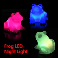 Wholesale Cute Frog Lamps - Wholesale- Color Changing Magic LED Cute Frog Night Light Energy Saving Novelty Lamp Colorful