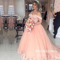 vestidos de festa de pêssego com renda venda por atacado-2019 New Peach Quinceanera vestidos fora do ombro apliques Beads Lace Up vestido de baile de tule 16 Sweet Girl Prom vestidos de festa Custom Made