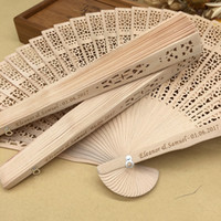 Wholesale giveaways resale online - personalized sandalwood folding hand fans with organza bag wedding favours fan party giveaways in bulk