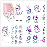 Wholesale Nail Water Decals Cute - 1 Aheet XF1254 Cartoon Style Watermark Water Transfer Design Cute Cats Tip Nail Art Sticker Nails Decal Manicure Tools