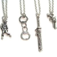 Wholesale zombie necklaces for sale - Group buy 12pcs The Walking Dead Inspired zombie artners In Crime Best Friends charm necklace geek silver tone