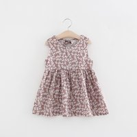 Wholesale watermelon print ribbon resale online - 2 to years baby Girls floral dresses summer sleeveless printed dress kids boutique fashion clothing AZR810DS