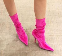 Wholesale Fashion Week Socks - fashion week women velvet ankle boots extremely pointed toe high heels socks short botas stars boots fashion runway