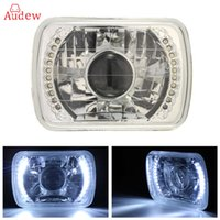 Wholesale Hid Shell - 1Pcs H6014 H6052 H6054 Chrome 7x6 LED Ring Projector Headlights Conversion Shell