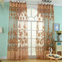 Wholesale Tulle Grommet Curtains - Fashion Flower Sheer Curtains Valance Floral Tulle Voile Curtain Home Decoration Door Window Curtains for Bedroom JI0142