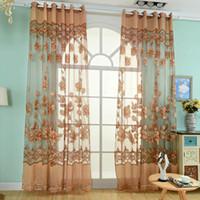 flor de la moda cortinas cortinas de valance floral tulle cortina de voile decoracin del hogar