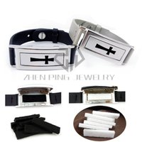 Wholesale Perfume Leather - Silver and Black Rectangle Cross (50*17mm) Genuine Leather Bracelet Stainless Steel Essential Oils Diffuser Locket Perfume Bangle