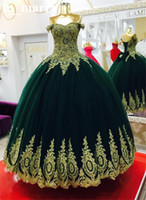 Wholesale Emerald Green Dresses Plus Size - Emerald Green Ball Gown Prom Dresses 2017 Off Shoulder Gold Lace Appliques Tulle Skirt Plus Size Arabic African Formal Evening Party Gowns