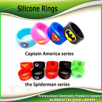Wholesale Bands Logos - Vape Band Silicone Rings with Superman Flash spiderman Captain America Logo Colorful Rubber Rings fit RDA RTA Atomizer Mod 2244007