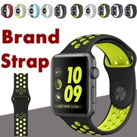 Wholesale More Connectors - Sport Silicone More Hole Watchband With Adapter Connector For Apple Watch Series 1 2 3 Strap Band 38 42mm Wrist Bracelet VS Fitbit Strap