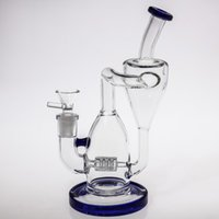 Wholesale Water Cooler Cheap - 23cm Tall Blue Glass Bongs 14.4mm Topest Cool Fashion Beaker Oil-Rigs Water Pipes Hand Hold Smoking Glass Bong Cheap Hookahs Safe Shipping
