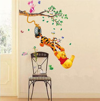 Wholesale Vinyl Wall Tree Decals - Pooh tree Animal Cartoon Vinyl Wall stickers for kids rooms Home decor DIY Child Wallpaper Art Decals 3D Design House Decoration