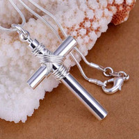 Wholesale Necklace Whistle - Wholesale- P243 Free Shipping 925 jewelry silver plated Necklace, 925-sterling-silver fashion jewelry Whistle Cross  asuajkba cflakwsa