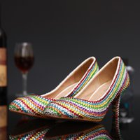 Wholesale Medium Heel Shoes Multicolor - 2017 New Fashion Colorful Rhinestones Beads Women Bridal Shoes Diamonds Beads Lady Wedding High-Heeled Evening Party Pageant Prom Pump