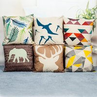 Wholesale Chair Covers Linens - Creative Geometric Pattern Cushion Covers Nordic Modern Decorative Pillow Covers Cotton Linen Chair Seat Sofa Throw Pillow Case