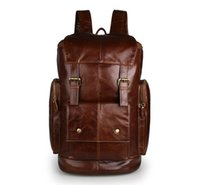 Wholesale Leather Fashionable Backpacks - Free Shipping Genuine Leather Unisex Fashionable Design Travel Backpack cowhide leather Laptop Bag Big Capacity Brown Color good quality