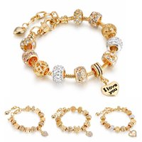 Wholesale Diy Crown Charm - 2017 New Light Gold Heart Charm Bracelets With Eiffel Tower Crown Bangles DIY Crystal Beads For Women Jewelry