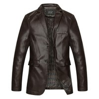 Wholesale mens winter motorcycle jacket resale online - Mens Jacket Winter Autumn Brand PU Leather Jacket Men Motorcycle Overcoat Jaqueta Large Size