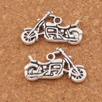 Wholesale Wholesale Motorcycle Pendants - Motorcycle Spacer Charm Beads Pendants 120pcs lot 24.5x14.3mm Antique Silver Alloy Handmade Jewelry DIY L494