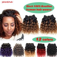 Wholesale Kinky Curly Ombre Hair Dye - Short Size 8Inch 2pcs lot 100g 50g pc Brazilian 7A Kinky Curly 100% Human Hair Extension