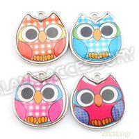 Wholesale Owl Charms Enamel - Wholesale- On Sale 60pcs lot Mixed Color Enamel Owl Alloy Charms Rhodium Plated Pendant For Handcraft DIY 19x19x2.5mm 143458