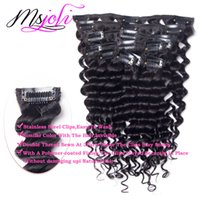 7A Virgin Mongolian Hair Clip humain en extension Deep wave Full Head couleur naturelle cheveux beauté 7pcs / lot 12-28 pouces de Ms Joli