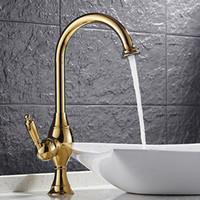 banyo lavabosu tezgahı toptan satış-Toptan ve Perakende Altın Parlatılmış Tek Koltuk Tezgahüstü Evye Lavabo Bataryası 1 Saplı Delikli Mikser Dokunun Banyo HS413