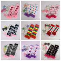 Wholesale Wholesale Christmas Chevron Leggings - Baby Knitted Lace Leg Warmers Kids Christmas Chevron Knee Warmer Halloween Leopard Leggings Rainbow Ruffle Stockings High Knee Socks B991