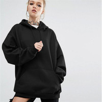 Wholesale Batwing Sleeve Hoodie - Women Hoodies Sweatshirts 2017 Fashion Autumn Winter Solid Hooded Batwing Casual Loose Long Sleeve Female Plus Size Sweatshirt