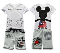 Wholesale Summer Set Minnie 2pcs - Hot Sell Kids Clothes Summer Mickey Minnie Mouse Cartoon 2PCS Sets Baby Boys Short Sleeves T-shirt + Pants Cotton Kids Babies Clothes Q0820