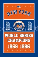 Wholesale 1986 Mets - New York Mets flag 3ftx5ft Vertical Banner 1969 1986 WORLD SERIES CHAMPIONS Polyester Flag 2 metal Grommets Noah Syndergaard Tim Tebow