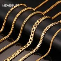 Meaeguet Classique Hommes Acier Inoxydable Serpent / Boîte / Suspendu / Bordure / Plat / Twist Chaîne 24 pouces Or-Couleur Long Collier Large 3mm / 6mm