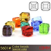 Wholesale Black Stone Cube - Charm Beads 10mm 80pcs set Special Color A5601 Glass Cube Beads Crystal Beads For Stone Jewelry