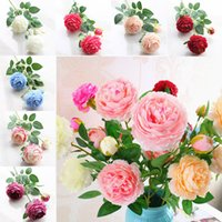 Wholesale Peony Gifts - 9 Color Artificial Flowers Roses Peony Three Flower Heads Garden Wedding Party Decoration Simulation Fake Flower Head Christmas Gift WX9-70