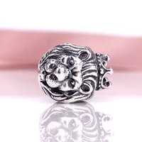 Wholesale lion silver necklace - Pandora Brithday Gift Silver Beads DIY Jewelry Sterling Silver Lion Head Silver Charm Authentic Pandora Bracelet & Necklace 791377