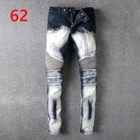 Wholesale Designer Mens Slim Fit Pants - Men's Distressed Ripped Biker Jeans US Size 28~42 Slim Fit Motorcycle Biker Denim For Men Brand Designer Hip Hop Mens Jeans