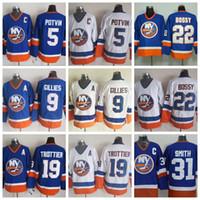 Wholesale Billy Smith - New York Islanders Throwback CCM Ice Hockey Jerseys 5 Denis Potvin 9 Clark Gillies 19 Bryan Trottier 22 Mike Bossy 31 Billy Smith Blue White