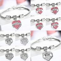 Wholesale Type Fish Hook - Diamond Love Heart Bracelet Bangle Crystal family member Mom Daughter Grandma Teacher Believe Faith Hope best friend for women 45 types