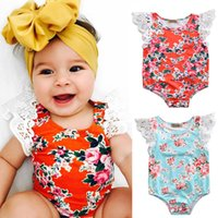 Wholesale Newborn Butterfly - Mikrdoo Summer Baby Flowers Rompers Newborn Infant Kid's Girls Red Clothes Flower Print White Lace Angel Butterfly Sleeves Jumpsuit Outfits