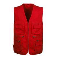 Wholesale Green Photographers - Wholesale- L-4XL Red Photography Vest With Many Pockets Men Sleeveless Jacket Black Army Green Khaki Photographer Mens Work Vests Brand