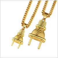 Wholesale Gift Packs For Men - Plug Pendant Necklace Pendants Hip Hop Gold Color For Men Women Packing With Gift Box Hip Hop Fashion Jewelry Free shipping