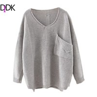 Wholesale Dip Hem - Wholesale- DIDK Casual Pullovers For Ladies Women Autumn Plain V Neck Long Sleeve Ripped Dip Hem Loose Sweater With Pocket