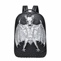 Wholesale Backpack Bat Bags - wholesale brand package personalized 3D three-dimensional bat punk backpack trend stone leather backpack fashion rivet cool cool student bag