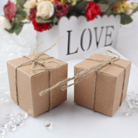 Wholesale Wholesale Christmas Favors - 50pcs Vintage Candy Box for Christmas Gifts Decorations Kraft Paper Weding Gift Boxes for Guests Party Favors and Gifts Hot Sale