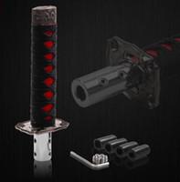 schwarzer roter schaltknauf großhandel-Universal Samurai Schwert Schaltknauf Shifter Katana Metal Schwarz + Rot 15cm