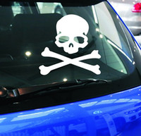 Wholesale Cool Car Stickers Decals - 11 X 10CM Cool Skeleton Skull Pirate Vinyl Car Styling Sticker Creative Decal Decoration Automotive Scratch Car Cover Stickers Tape Decal