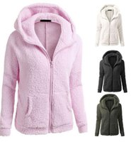 Wholesale Women Thicken Fleece Warm Coat - Women Sherpa Pullover Fleece Winter Soft Warm Coat Hooded Overcoat Jacket Outwear Thicken Warm Winter Jacket Coat LJJK832